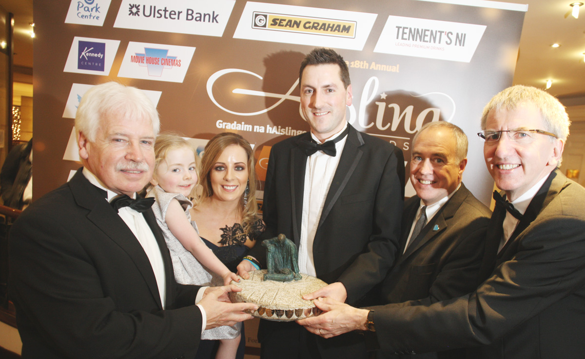 Aisling Awards 2014, Person of the year award The Knox family Izzy, Steven and Leona with Sammy Douglas MLA , Comptroller Torn Di Napoli and Mairtin O Muilleoir MLA