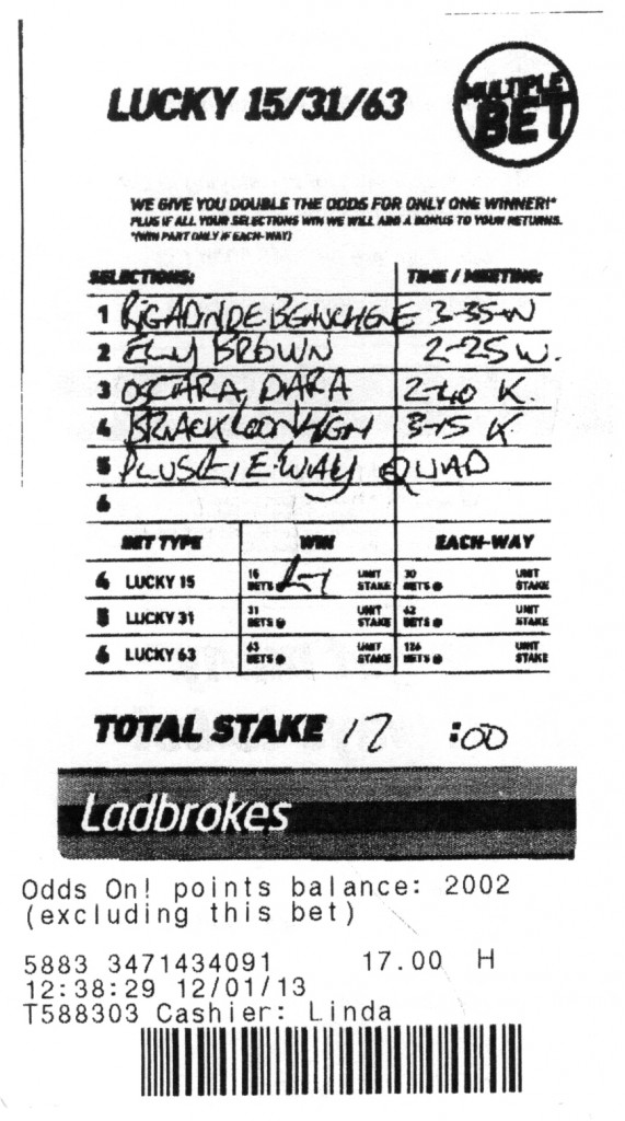 WINNING BET: Ed's Saturday bet that netted him a cool £9,999.04