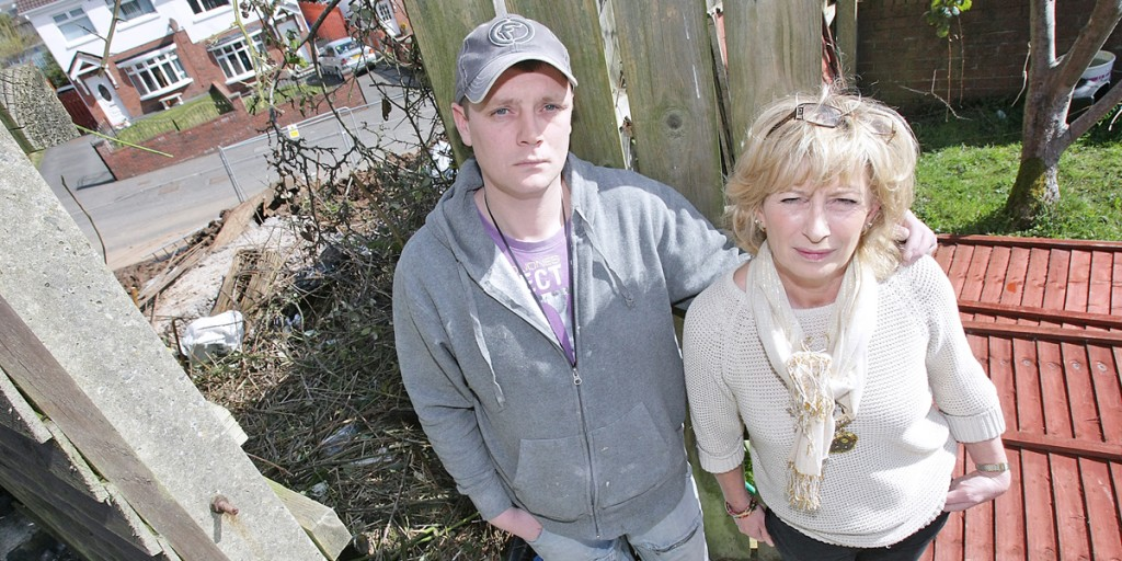 Eilish Gibson, who lives next door to the building site, pictured with her son Stephen