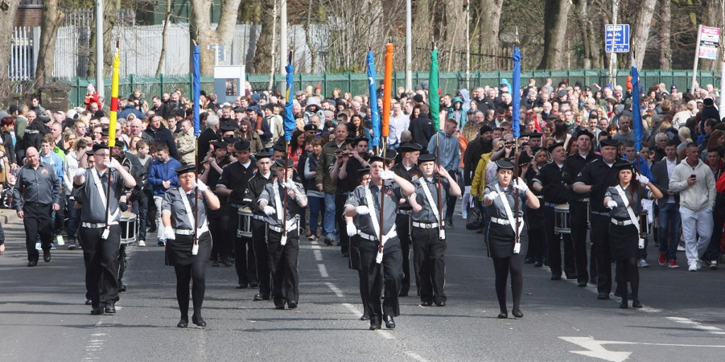 Parading up the Falls Road to the National Graves' Association commemoration at Milltown Cemetery