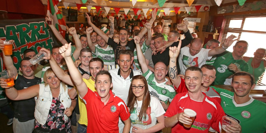 Cliftonville and Celtic fans enjoy the pre-match entertainment in The Rock Bar