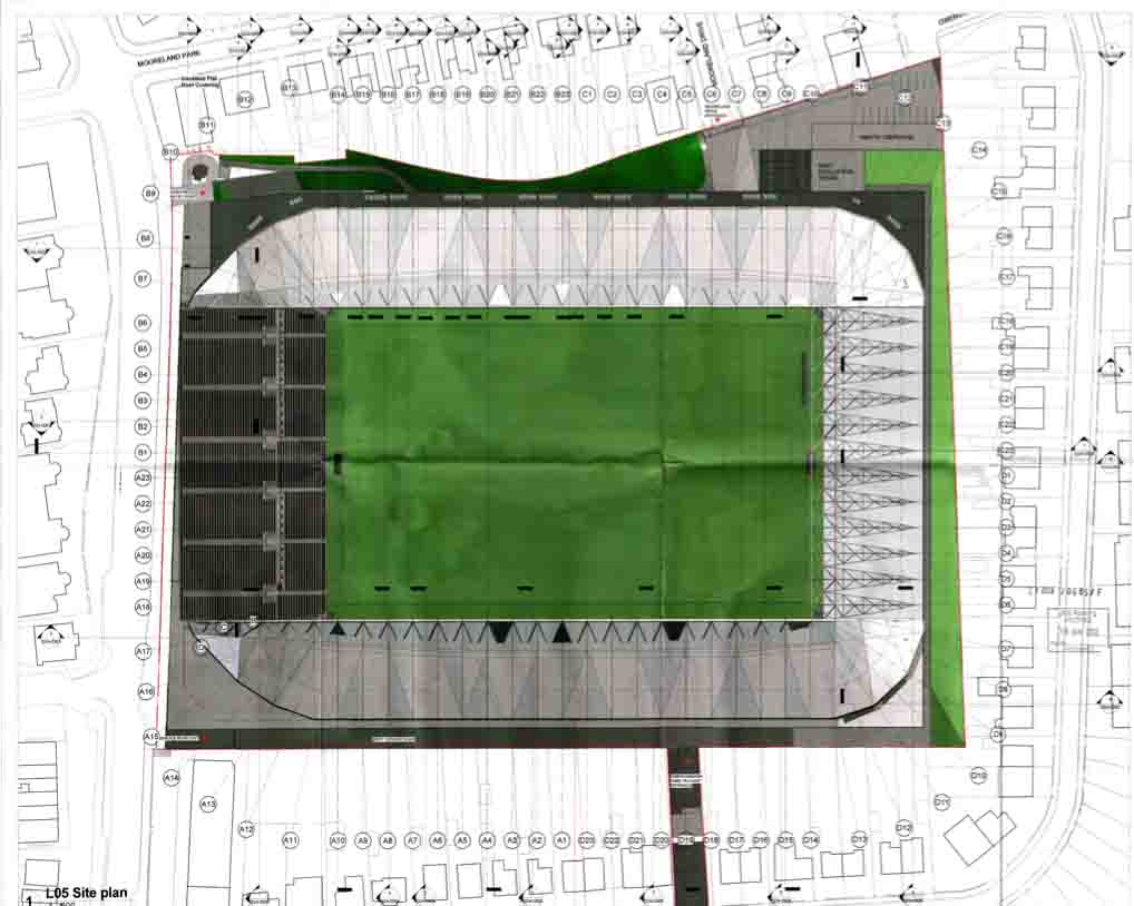 An overview of the new site, showing the three covered stands on the Owenvarragh Park and Mooreland Park sides, and the open, uncovered stand at the Andytown Road end