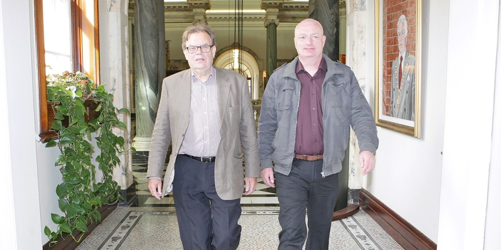 Tom Hartley and Gerard O'Neill prepare to leave City Hall as Councillors  for the last time