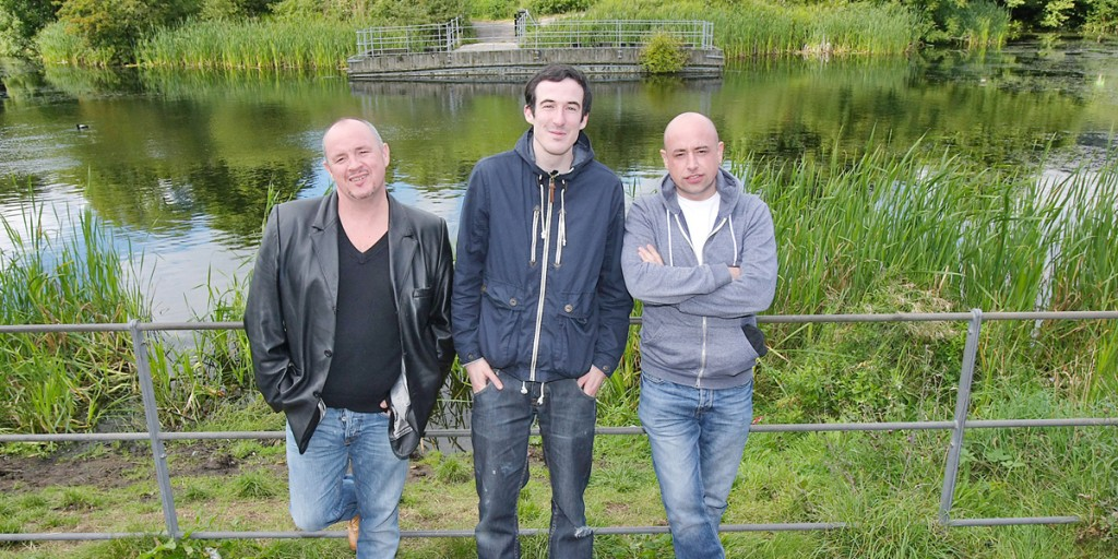 Writer Pearse Elliott with actor Ciarán Nolan and Artistic Director Tony Devlin from the Brassneck Theatre Company at the Half-Moon Lake