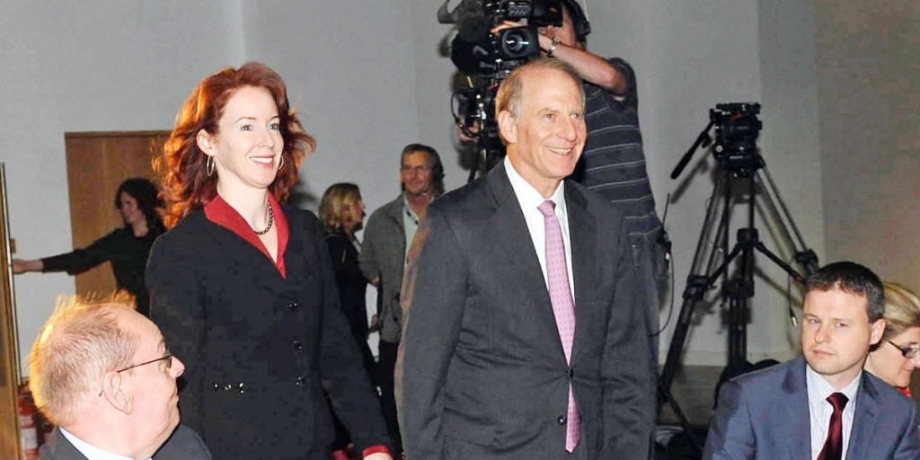 US diplomat Richard Haass, with Meghan O'Sullivan, a Professor at Harvard University, arriving at the Europa Hotel to chair all-party talks