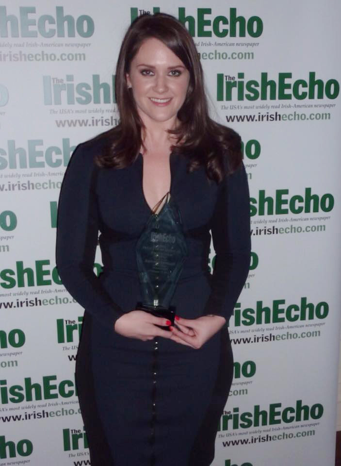 Bronagh Finnegan with the Ambassadors Award at the Irish Echo's 40 Under 40