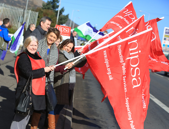 Public sector workers on strike at Beech Hall Wellbeing Centre in Andersonstown