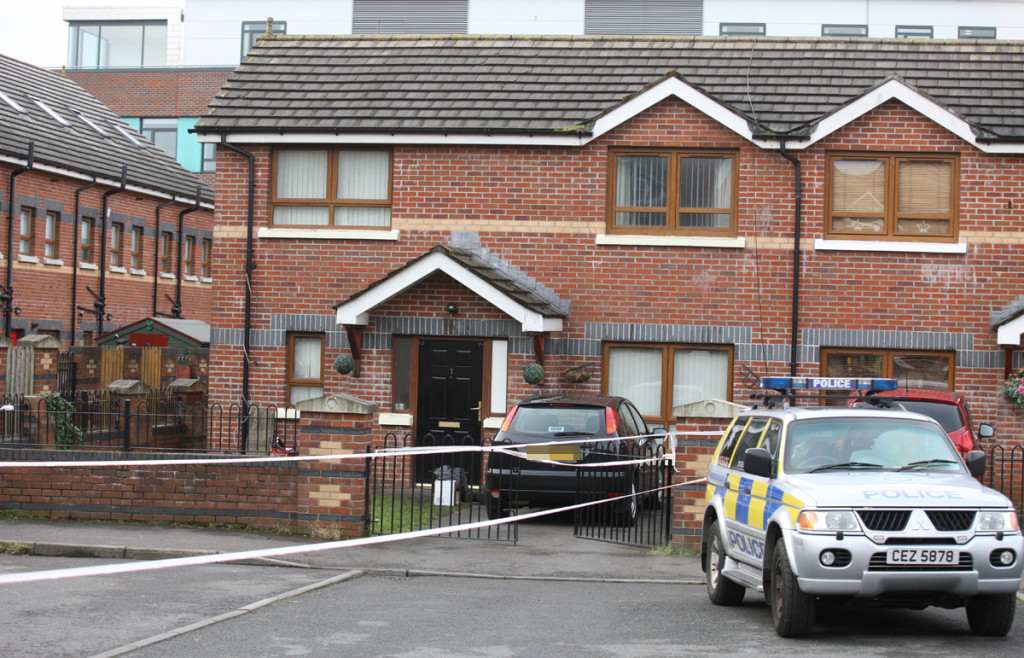 The house in St James' Mews off the Antrim Road where the shooting took place remains sealed off this morning