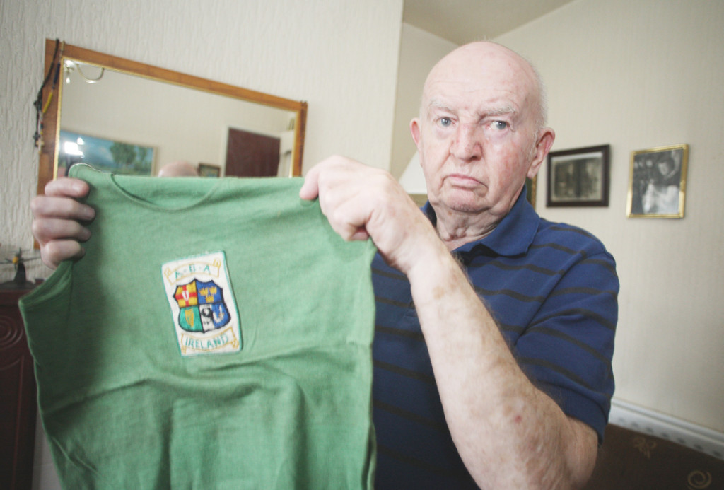 Teddy Gilroy holds one of his brother Freddie's amateur vests – now he's appealing for the return of the most special memento of all