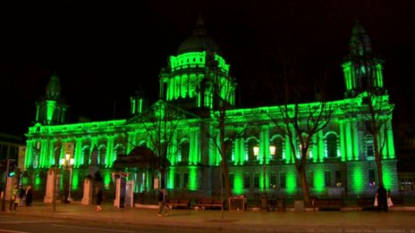 Belfast City Hall is joining iconic landmarks around the world - from the Great Wall of China to the Niagra Falls - going green for St Patrick's Day at the request of Tourism Ireland