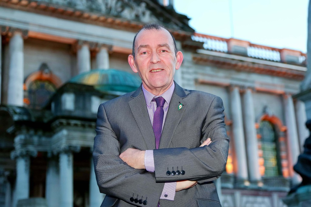 Councillor Arder Carson outside City Hall yesterday evening after being elected first Lord Mayor of the expanded new Belfast City Council