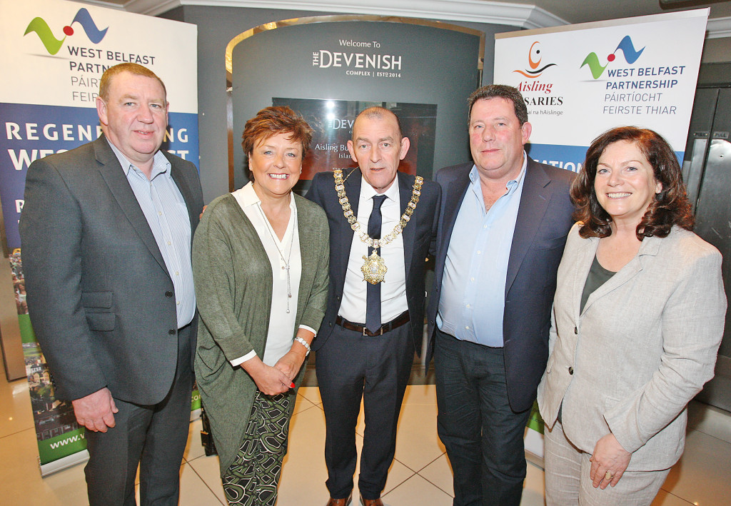 Gerry McConville of the Falls Community Council, Geraldine McAteer of the WBPB, Marie Clarke, Joe Clarke and the Belfast Lord Mayor, Arder Carson, at the Finaghy launch of this year's Aisling Bursaries