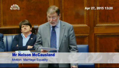 The DUP's Nelson McCausland on the live feed from Stormont of yesterday's marriage equality debate