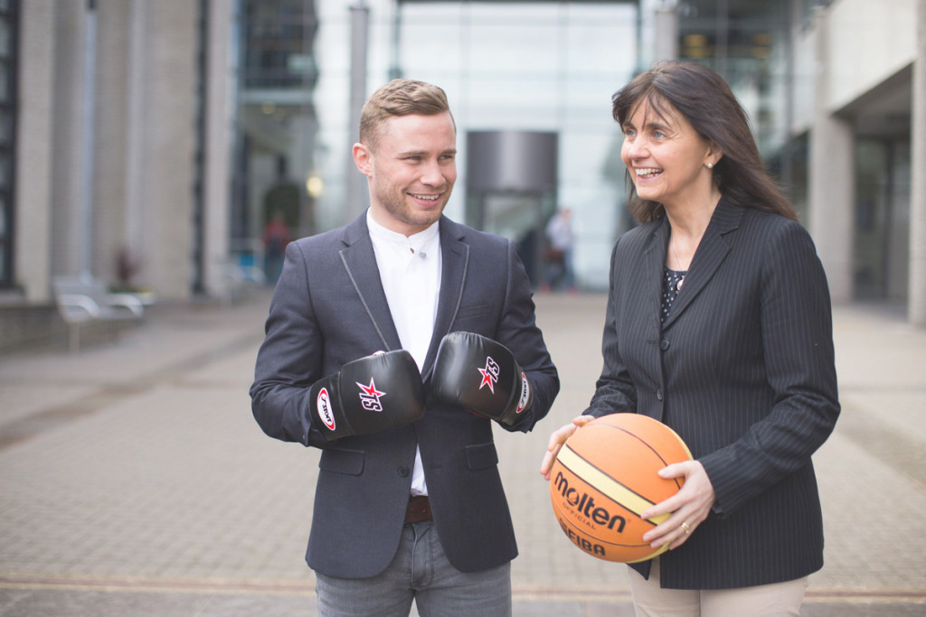 Carl Frampton with Professor Deirdre Brennan of the Ulster University at the conference exploring the crucial role of sport in promoting positive social change