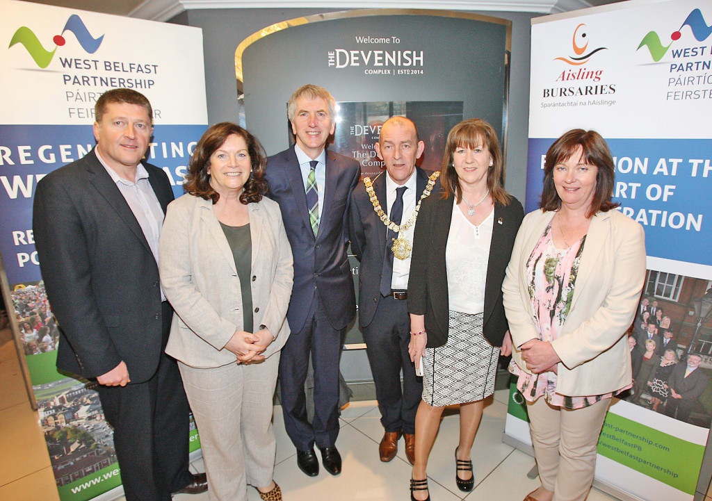 At the Aisling Bursaries launch at the Devenish are Caomhín Mac Giolla Mhín, Geraldine McAteer, Máirtín Ó Muilleoir MLA, Belfast Lord Mayor Arder Carson, Rosie McCorley MLA and Junior Minister Jennifer McCann