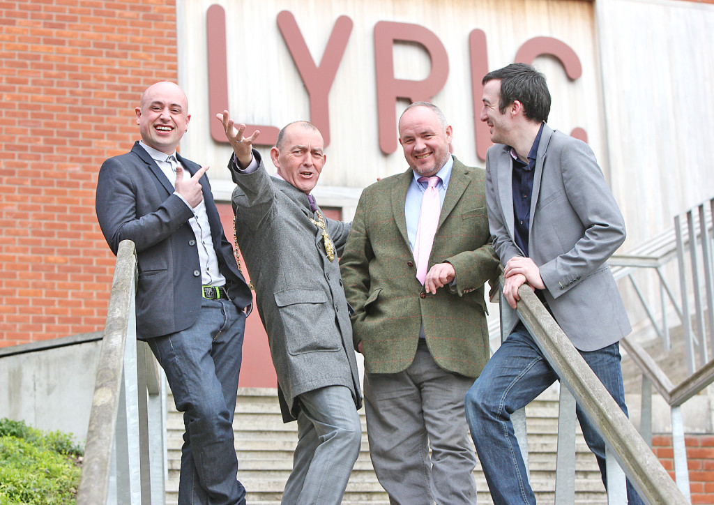 Writer of Man In The Moon, Pearse Elliott, centre right, with actor Ciarán Nolan, right, and artistic director of Brassneck Theatre Company, Tony Devlin, with Belfast Lord Mayor Arder Carson at the launch of the play at the Lyric Theatre