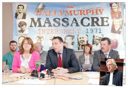 Pádraig Ó Muirigh, solicitor for the Ballymurphy families, with some of his clients at a press conference and, inset, Michael Mansfield QC