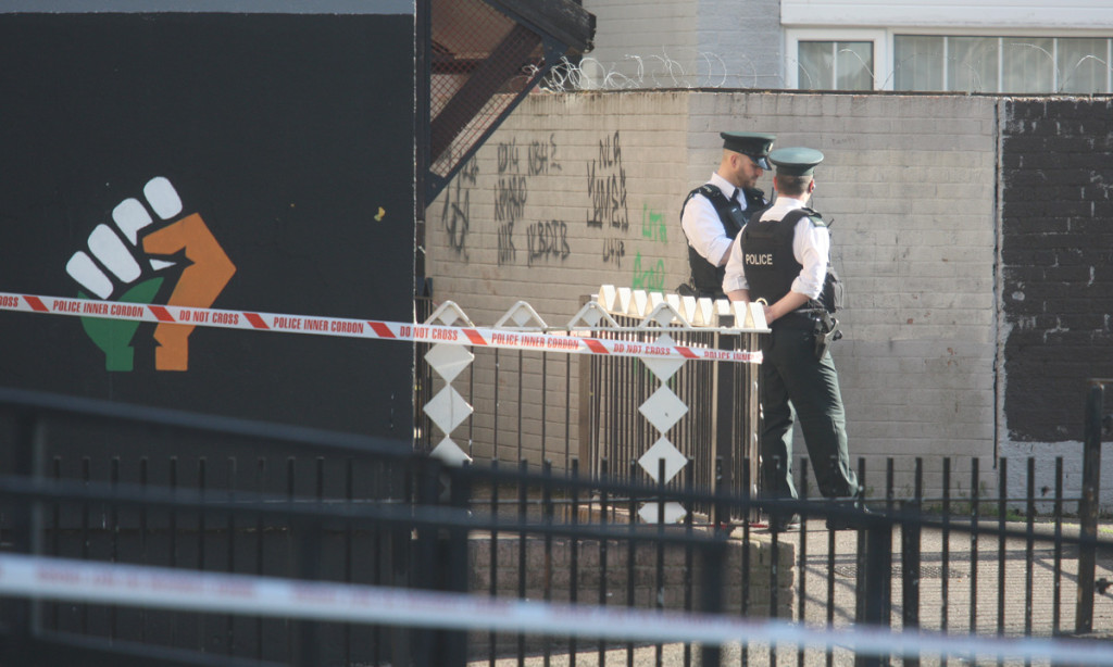 A security cordon remains this morning around the scene of last night's bomb attack on a police patrol in the New Lodge district