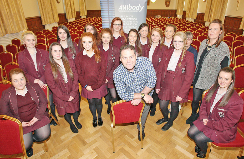 Philip McTaggart delivers Mindskills training to pupils at St Dominic's Grammar School for Girls along with teachers Rachael Smyth and Eimear Mc Evoy
