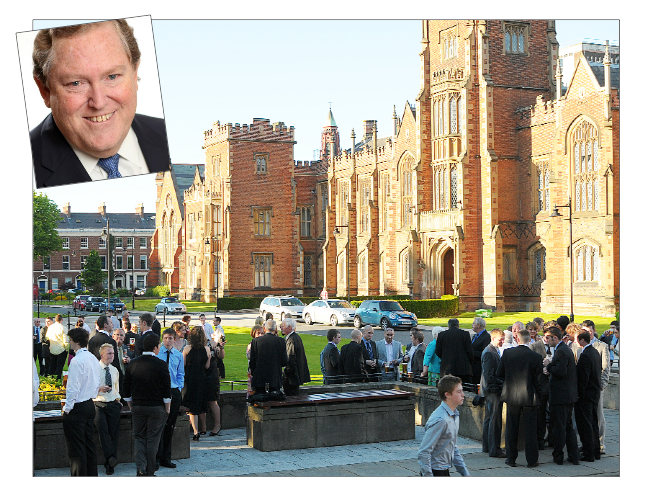 "Queen's University has been described as ""innovative, dynamic  and exceptional"" by its new Chancellor Tom Moran (inset)"