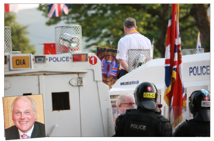 Riot police at the Twaddell protest camp, one of the North Belfast parading issues that will be examined by a panel headed up by Dr James Dingley (inset)