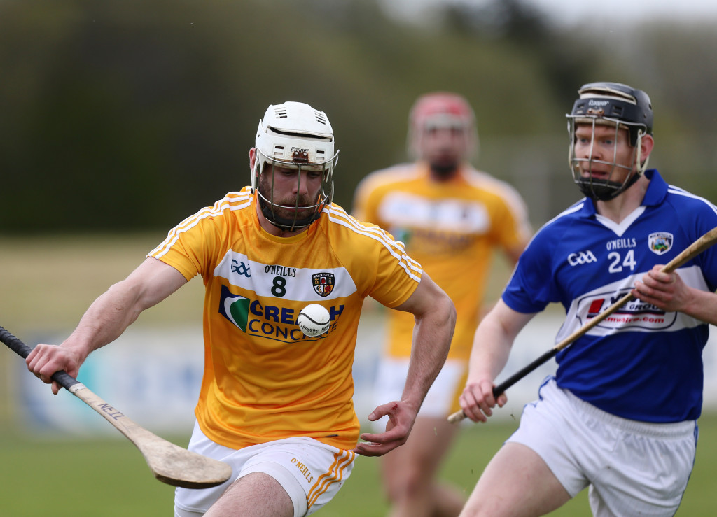 Antrim's Neill McManus in action against Laios' Patrick Whelan Mandatory Credit ©INPHO/Presseye/John McIlwaineInformation