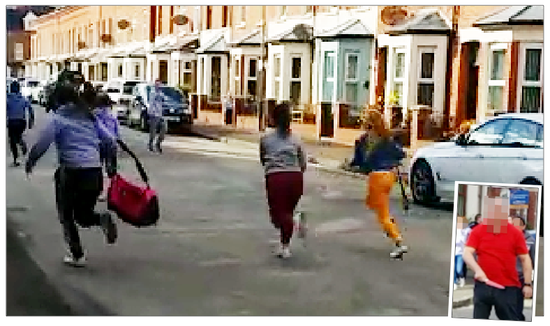 Members of the gang flee, one carrying a hurl, while (inset) a resident is pictured with the kitchen knife taken from one of the girls
