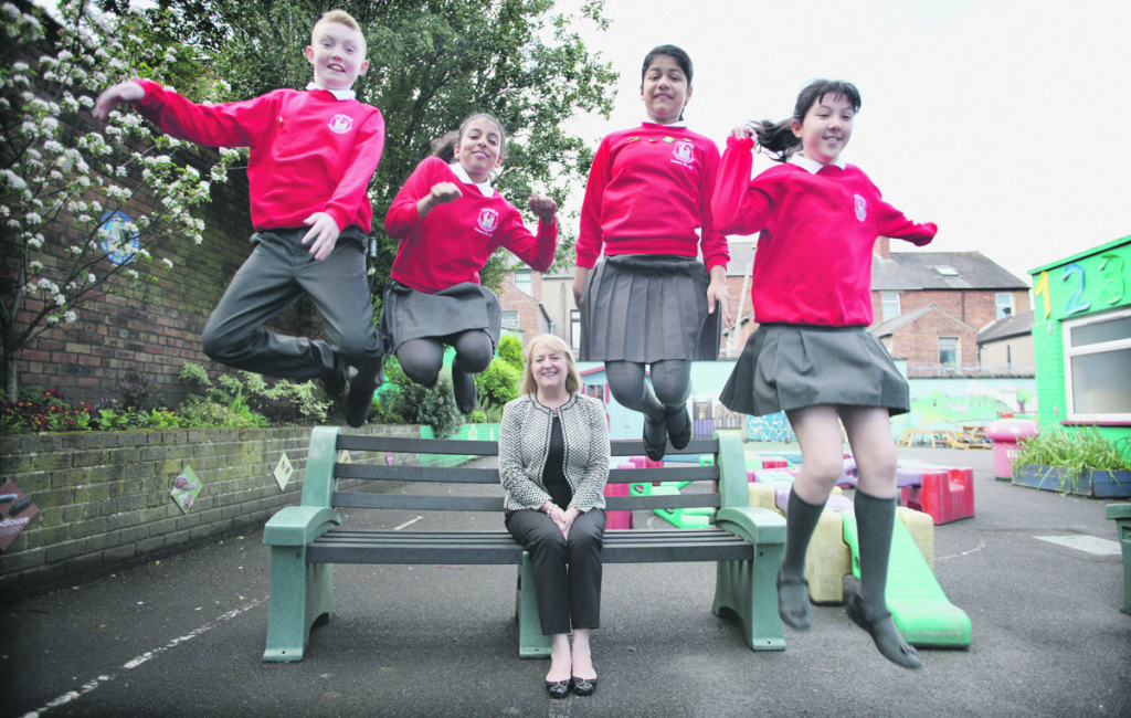 Holy Family pupils jump for joy on hearing that Principal Dina McManus has been nominated for a prestigious Pearson Award