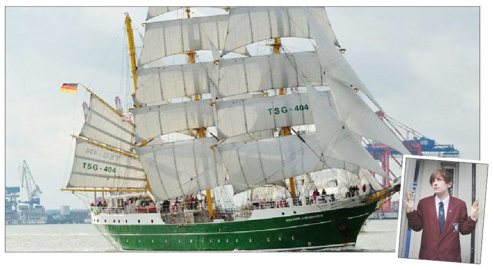 Luke (inset) will join the magnificent Alexander Von Humboldt II when she arrives in Belfast in July
