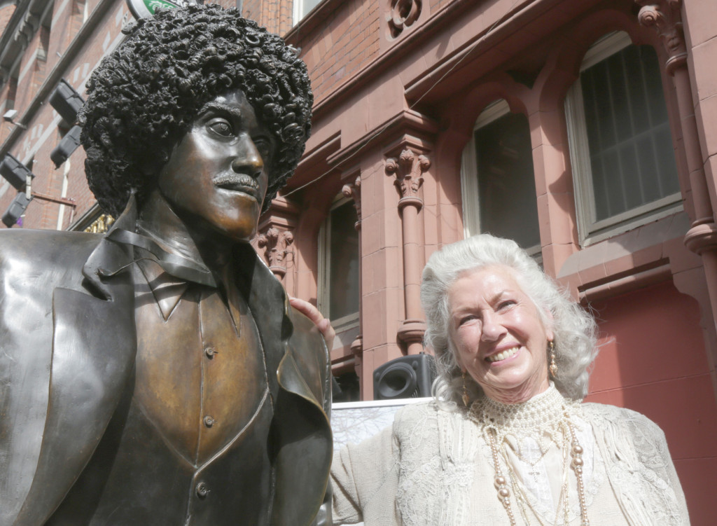 Philomena Lynott at the statue of her son Phil in Grafton Street