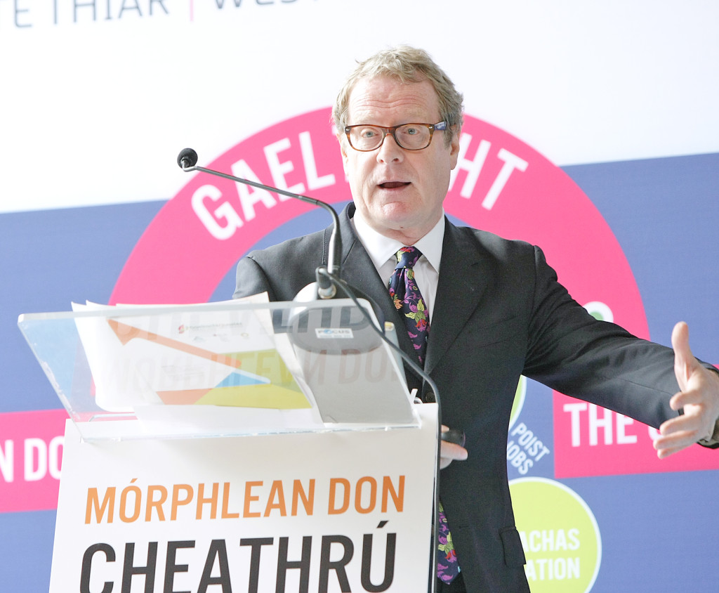 Clive Dutton launching Mórphlean don Cheathrú Ghaeltachta/the Big Plan for the Gaeltacht Quarter in September 2013 in West Belfast
