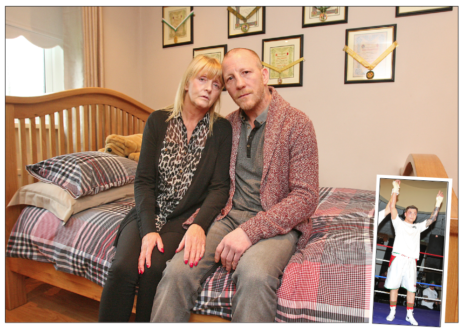 Mary and Eamonn Magee Snr in the  bedroom of their late son Eamonn Jnr (inset) where boxing medals and certificates adorn the wall