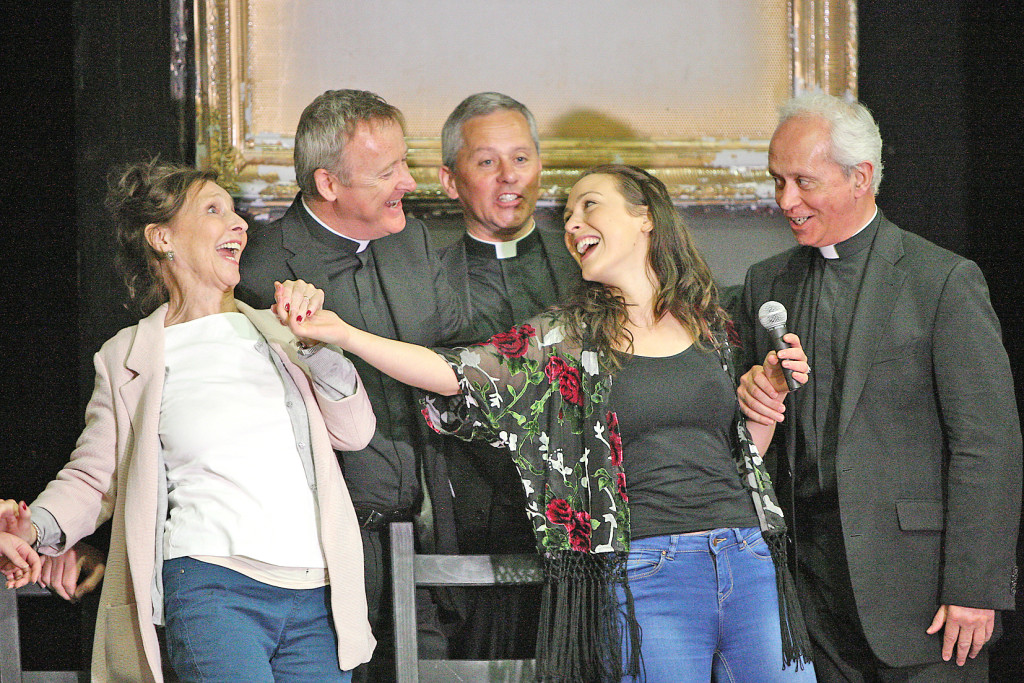 The Holy Holy Bus cast members Stella McCusker and Roisin Gallagher are joined at rehearsals in the Devenish by singing sensations The Priests who popped in to provide a little musical accompaniment