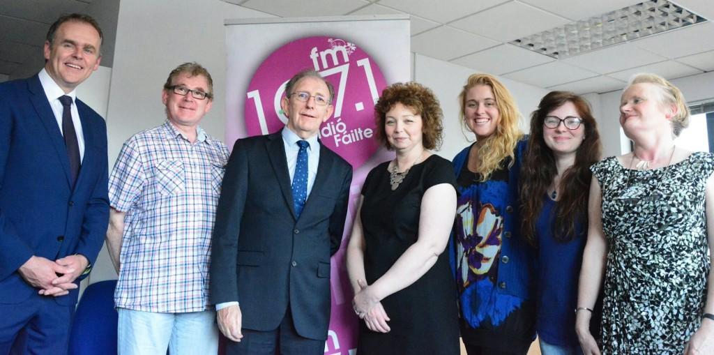 Minister Joe McHugh TD (left) and Minister Carál Ní Chuilín MLA are welcomed to the Cultúrlann by Ian Malcolm, Fergus O'Hare, Edel Ní Churraoin, Kady Ní Cathmhaoil and Máire Ní Fhionnachtaigh