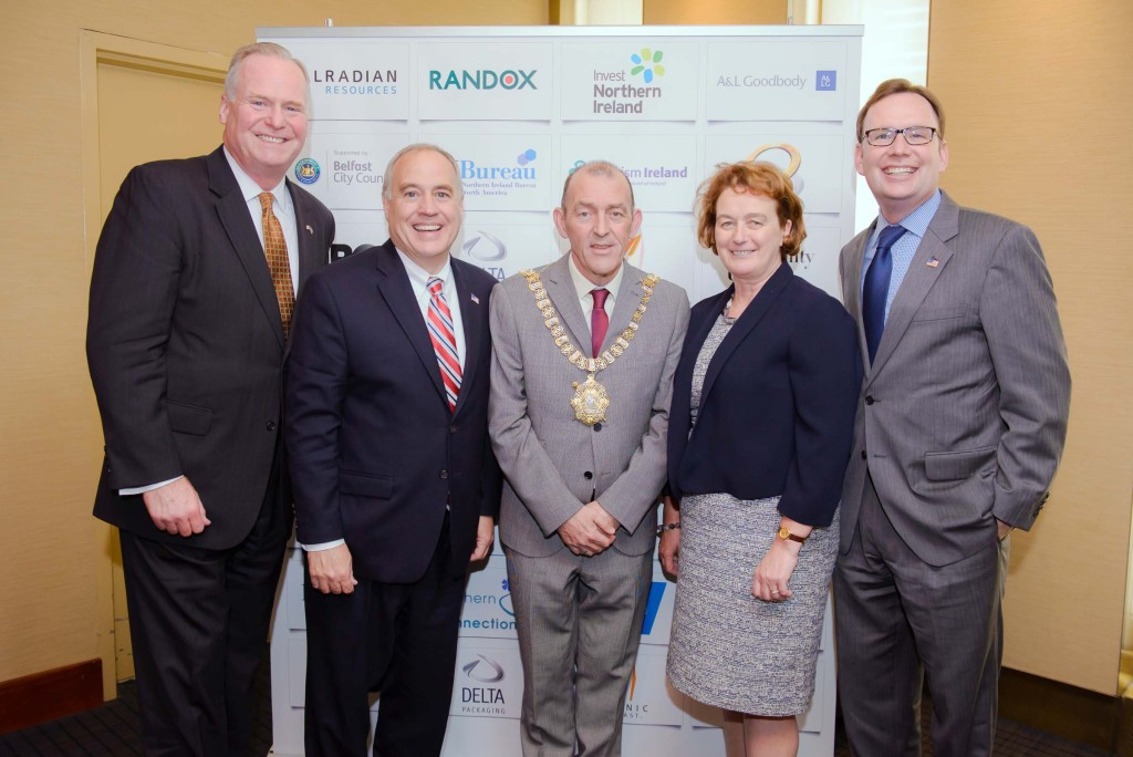 New York State Comptroller Tom DiNapoli (second from left) at the New York-New Belfast Conference with Rep Mike Fitzpatrick, Belfast Lord Mayor Arder Carson, Consul General of Ireland in New York Barbara Jones and Rep Mike Cusick