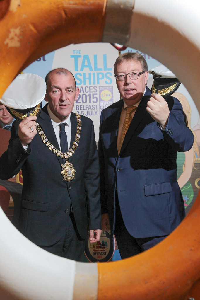 Belfast Lord Mayor Arder Carson and Gerard O'Hare, Chairman of Tall Ships Ltd, begin the final countdown to the arrival of the Tall Ships