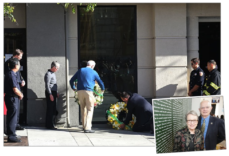 Mayor Tom Bates lays a wreath at the spot where six Irish students attending a 21st birthday party in Berkeley, California, fell to their deaths in the early hours of Tuesday morning; inset, Mayor Bates with his wife Loni Hancock on a visit to Belfast