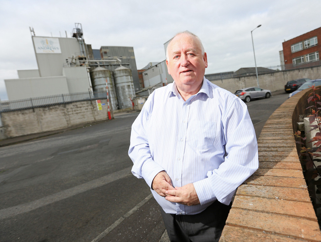 Fra McCann MLA at Andrews Flour Mill in Percy Street, which is likely to move to the Harbour Estate, taking 30 jobs from the Falls