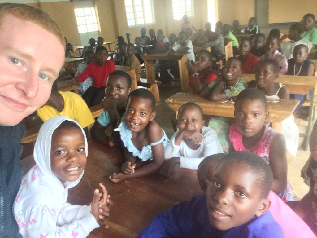Colin Keenan in the classroom – he's hoping to fund a year's education at Martyrs for seven children