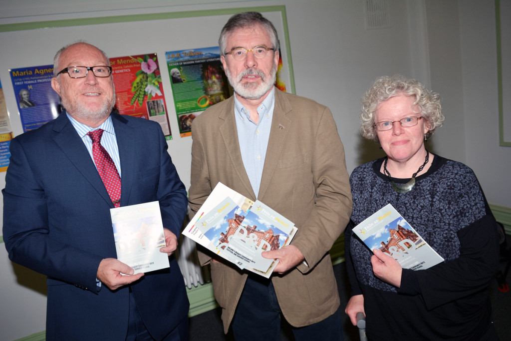 Féile discussion and debates programme is launched at St Mary's University College with Professor Peter Finn, Sinn Féin President Gerry Adams, and Claire Hackett from Féile's Discussion and Debates Committee