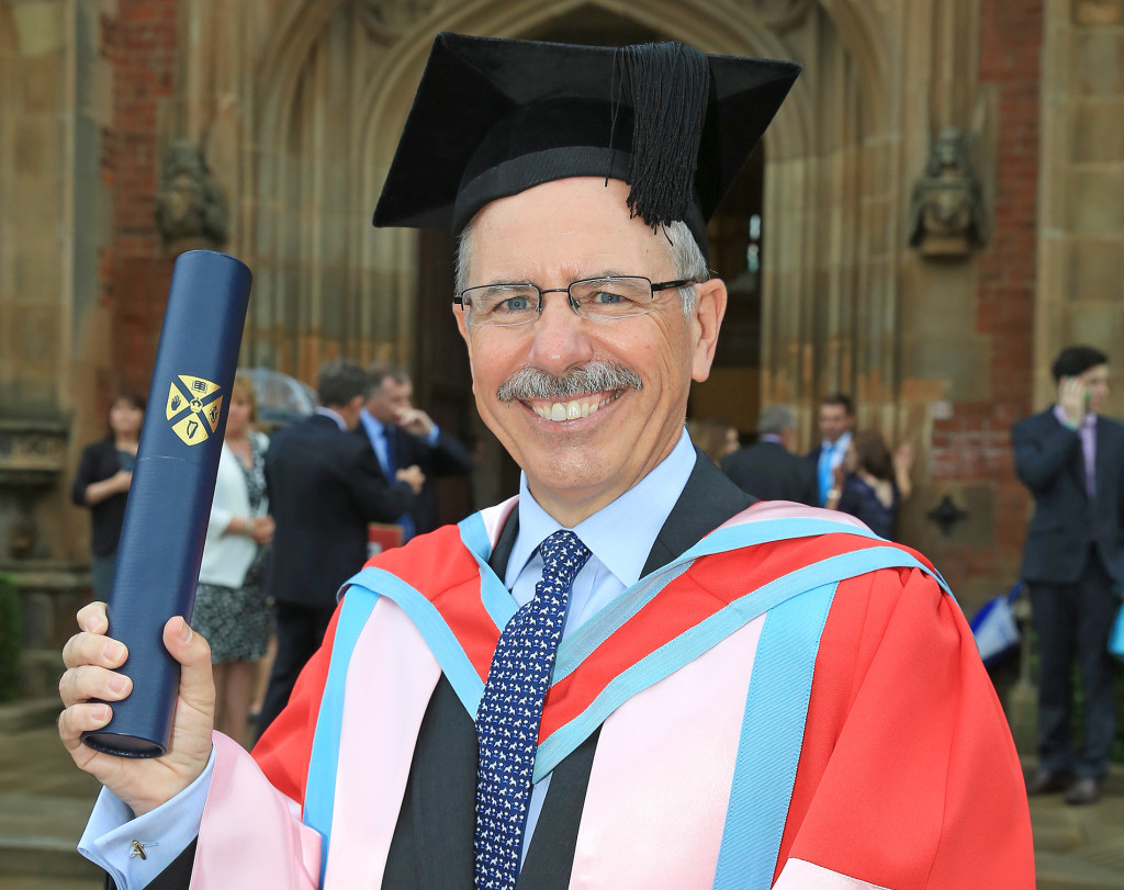 Shaun Kelly shows his delight after receiving his honorary doctorate from Queen's yesterday