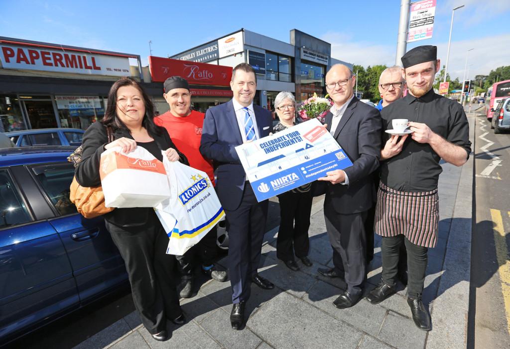 Paul Maskey MP, Glyn Roberts (NIIRTA), Jacqueline O'Donnell (Chair West Belfast Traders Forum), Darren Raffo (Raffo's), Patsy Furber (Fancy Fayre), Brian Johnson (Noel Grimley Electrics) and Gary Barr Johnston (La Casa) get ready for Independents Day