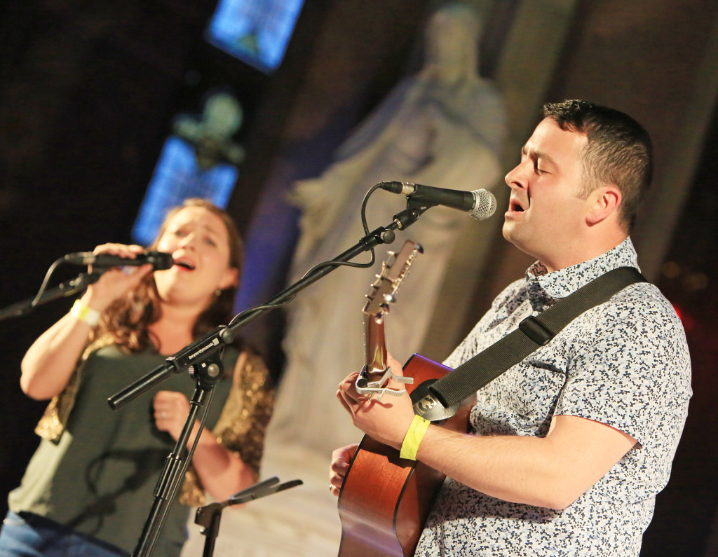 Barry Kerr with special guest singer Pauline Scanlon playing at Clonard Monastery during the Irish and Corsician Voices evening