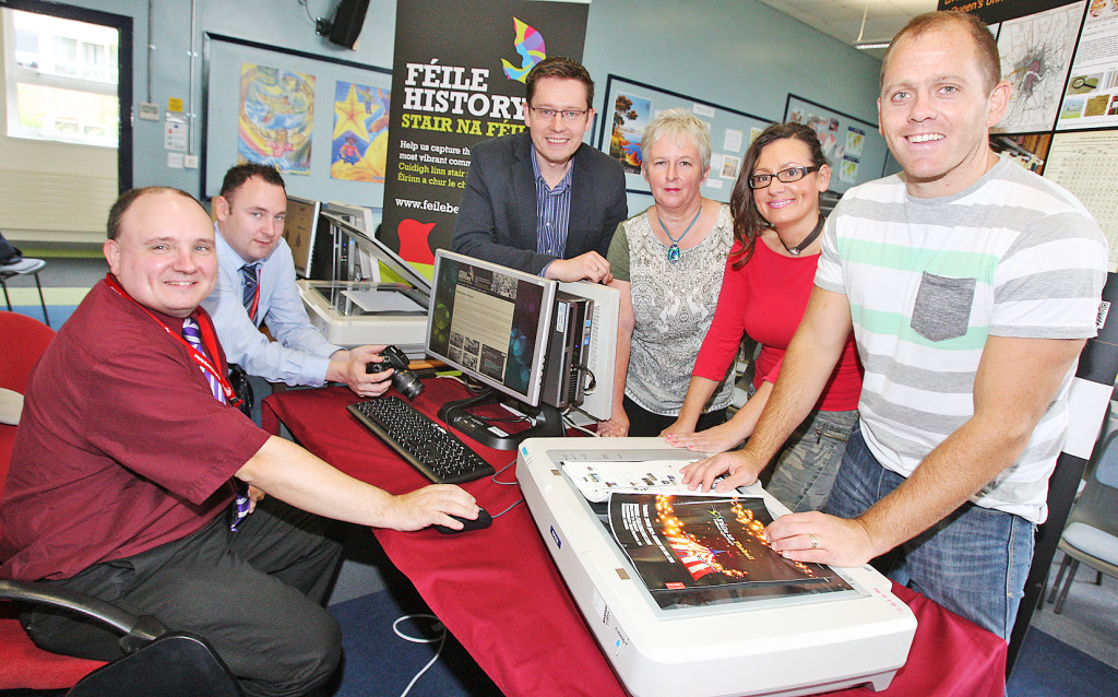 The Féile History team:David Hardy, Anthony Anderson and Elaine Reid of the Centre for Data Digitisation and Analysis at QUB, with Michael Pierse and Feargal Mac Ionnrachtaigh of the QUB School of Modern Languages and Deirdre Mackel, Féile