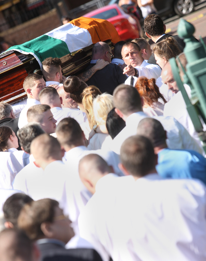 The funeral of Kevin McGuigan in the Short Strand on Tuesday