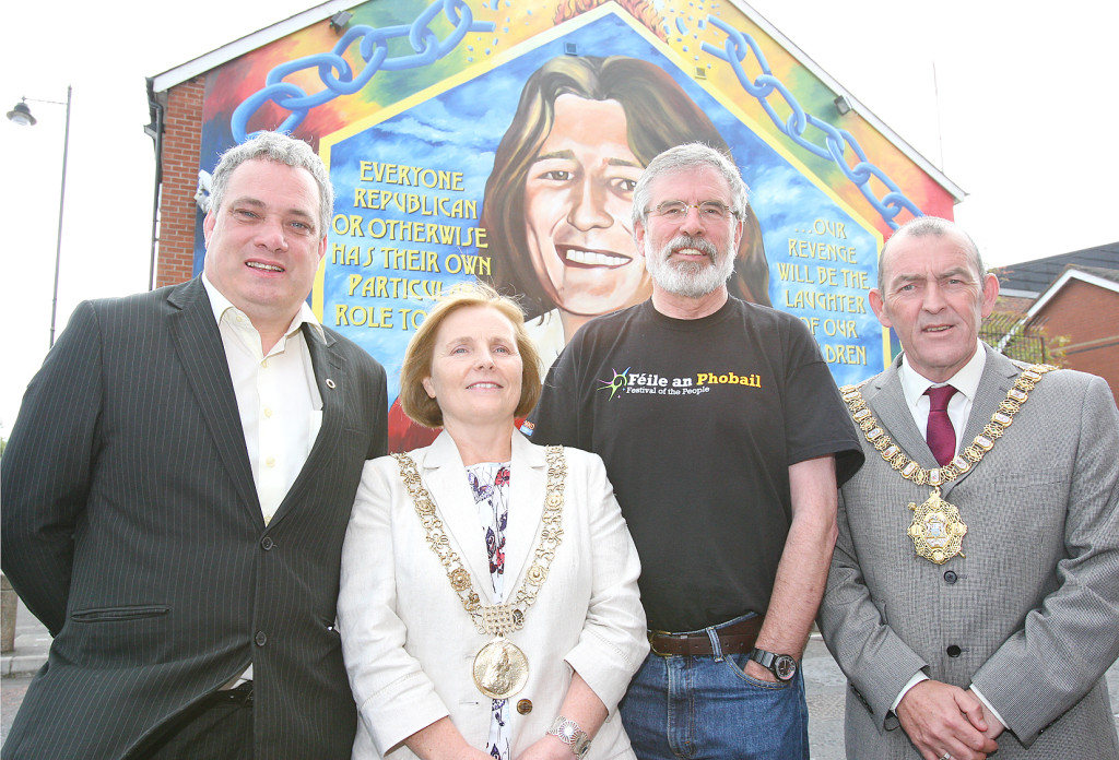 Dublin Lord Mayor Críona Ní Dhálaigh and Belfast Lord Mayor Arder Carson, with Gerry Adams TD and Aengus Ó Snodaigh TD on the Falls Road