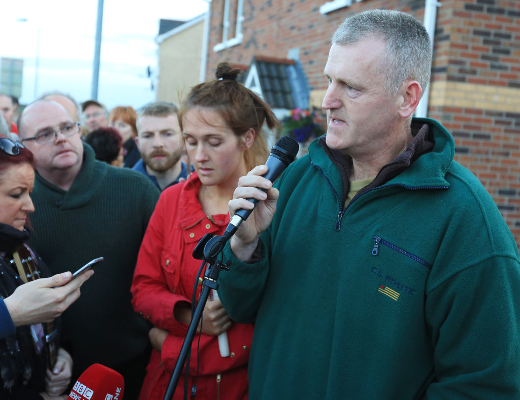 Jennifer Dornan's father Stephen speaking at last night's vigil to his murdered daughter