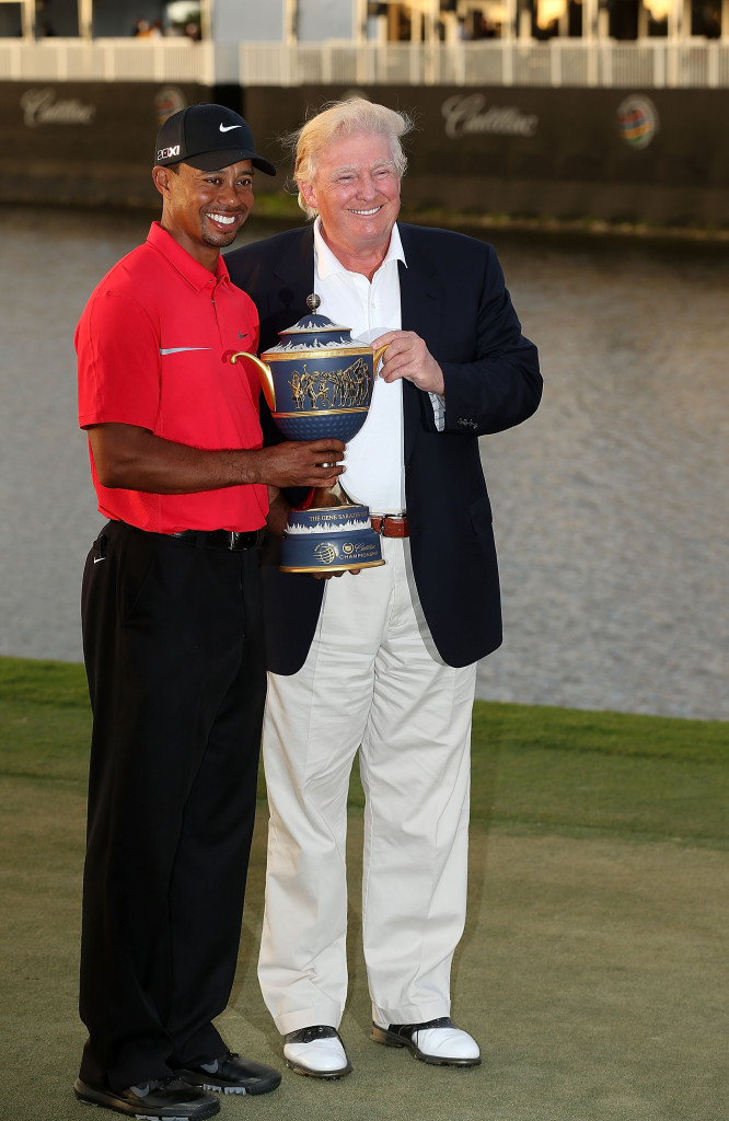 Donald Trump with Tiger Woods – the billionaire businessman's political fortunes are on the rise while the golfer continues to struggle