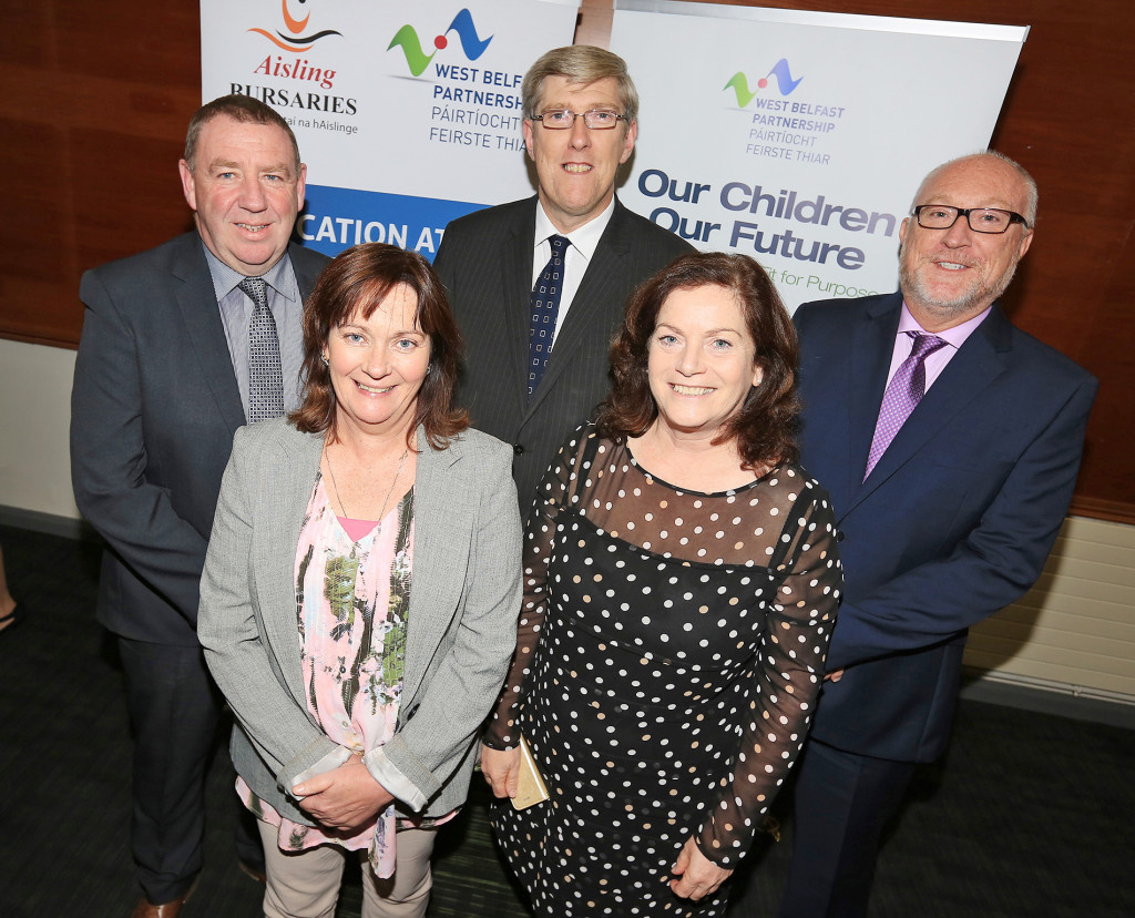 At the Aisling 2015 launch at St Mary's are Minister for Education John O'Dowd, Junior Minister Jennifer McCann MLA, Councillor Geraldine McAteer, Peter Finn, St Mary's Principal, and Gerry McConville, Chairperson Falls Community Council