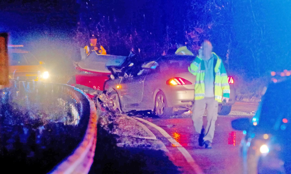 First-responders at the scene of the accident which took place around 10.30pm last night